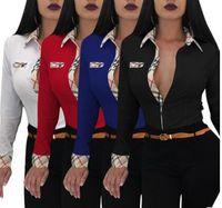 Wholesale Panel Shirt - 2018 new Women Blouses fashion brand Plaid stitching poIo shirt 4 colors Slim long sleeves overshirt Casual Workwear OL shirt