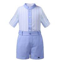 ingrosso ragazzi ragazzi striscia-Pettigirl Blue Strip Set di abbigliamento per bambini Abiti estivi per ragazzi Top solido con pantaloni Abiti firmati per bambini Ragazzi B-DMCS101-B187