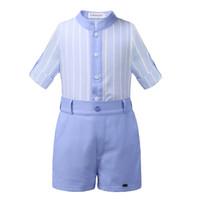 tira meninos miúdos venda por atacado-Pettigirl Faixa Azul Crianças Conjuntos de Roupas de Verão Meninos Roupas Sólidos Top Com Calças Crianças Roupas de Grife Meninos B-DMCS101-B187