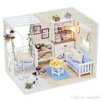 kits de casa de madera en miniatura al por mayor-Nuevos Kits de muebles de casa de muñecas DIY Casa de muñecas de madera en miniatura con LED + Muebles + cubierta Sala de casa de muñecas HB