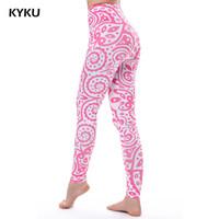 leggings de lycra rosa al por mayor-KYKU Pink Leggings Mandala Flores Lycra Sexy Legging Verano Mujeres Legging de Cintura Alta Impresión 3D Mujeres Delgadas Leggings Lycra Fitness