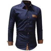 novo algodão design vestido de algodão venda por atacado-Novo 2018 Outono Algodão Camisas de Vestido de Alta Qualidade Dos Homens Casuais Camisa de Design de Moda Homens Plus Size XXXL Slim Fit Camisas Sociais