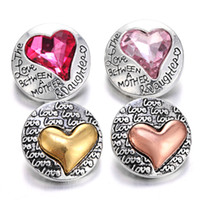 Wholesale wholesale bracelets suppliers - New Snap Button Bracelet Jewelry Rhinestone Metal Love Heart 18mm Snap Buttons Noosa Chunks Jewelry Making Supplier