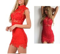 Wholesale turtle neck black lace dress - 2018 Women's Dress Lace sexy Flowers embroidery lace necked sleeveless Hollow out dress White, red, black