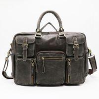 men s leather body bag оптовых- Classic 16' Genuine Leather Business Briefcase Portfolio Men's Handbag Cross Body Shoulder Messenger Bag Travel Bags
