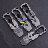 kalburcu edc toptan satış-Açık Survive EDC Ti Titanyum TC4 Şam Kazayağı anahtarı tornavida Asmak Anahtarlık Çok fonksiyonlu kombinasyonu araçları