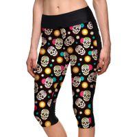 ingrosso crani d'amore-Pantaloni sexy da donna 7 punti Fashion Put love skull rosso stelle gialle stampa digitale halloween donna vita alta tasca laterale pantaloni