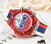 Wholesale glass keepsake - 2018 World Cup Keepsake watch HB brand Hyaline shell men's luxury men watch Stopwatch famous brand clock Relogio brand for mens watches