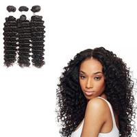 paquetes de pelo brasileño de 28 pulgadas al por mayor-American Popular Brazilian Deep Wave Non-Remy Hair Bundle 8-28 pulgadas de cabello humano que teje para las mujeres negras