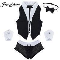 ingrosso vendita di biancheria uomo-Hot Sales Men Sexy Maid Role Play Costume Outfit Tops Boxer Slip intimo con colletto Manette Lingerie Set