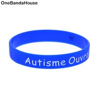 Wholesale flexible love - 100PCS Lot Autisme Ouvrons Notre Love Silicone Wristband It is Soft And Flexible Great For Normal Day To Day Wear