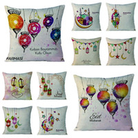 Wholesale muslim home decor resale online - Muslim Pattern Pillow Case Classic Flax Cushion Cover Sofa Bedroom Decor Ramadan Kareem Eid Mubarak Pillowslip Hot Sale hn Ww