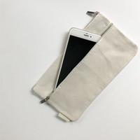 ko großhandel-21,5 * 12,5 cm Blank Reißverschluss Leinwand Geldbörse Kosmetische Aufbewahrungstasche Kartenhalter Kleingeld Telefon Schlüsseletui ZA6071