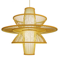 sala de estudio de madera al por mayor-Lámparas hechas a mano de madera China Bambú Tejidas Linternas Lámparas colgantes Comedor Salas de estudio Casas de té Cajas Lámparas de decoración