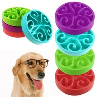 Wholesale indoor dog - 7 Colors Pet Dog Puppy Slow Eating Bowl Anti Choking Food Water Dish Slow Eating Feeding Bowl Feeder AAA382