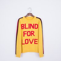 Wholesale Yellow Striped Sweater Women - 2018 New Spring Autumn Women Men Knitwear Yellow Letters Back Striped Knit Sweater Wolf Head Embroidery Print Arm Female Pullovers Coat