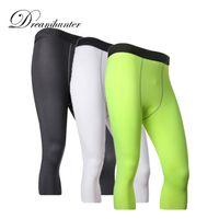 blue mens leggings Australia - Compression Mens Running Leggings Gym Pro Training Cycling 3 4 Calf Pants Sports Basketball Football Pants Trousers