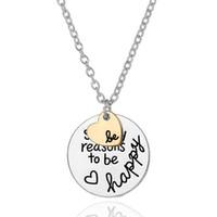 pendentifs de navire ami achat en gros de-TELLEMENT DE RAISONS D'ÊTRE HEUREUX Coeur pendentif Nekclace pour femme meilleur ami inspiré colliers bijoux cadeau Drop shipping