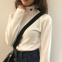 Wholesale rock gold resale online - Striped Women Harajuku Shirt Rock Korean Funny Pink Kawaii Tops Long Sleeve Solid Shirts Retro Cute Embroidery Love Elastic T Shirt Female