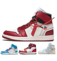 chaussures de basket-ball pour hommes noires achat en gros de-Arrivée hors OG Top 1 Hommes Noir Or 1s Sneakers Haute Qualité NUC Outdoor Trainers Hommes Blanc Chaussures De Course Chaussures De Basket-ball