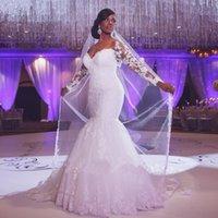 robes de mariée sirène dentelle manches perles achat en gros de-Glamorous African Mermaid Robes de mariée à manches longues dentelle perles appliques Vintage robes de mariée de luxe 2018 épaule épaule robe de mariée