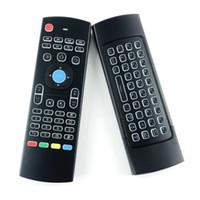 fliegt kontrolle großhandel-X8 Mini-Tastatur der Hintergrundbeleuchtung MX3 mit IR, der drahtlose Fernbedienung 6Axis der Qwerty-2.4G Luft-Maus mit Hintergrundbeleuchtung Gampad für android Fernsehkasten i8 lernt