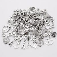 Mix 50pcs lot Vintage Big Hole Loose Beads European Pendant fit  charm bracelet DIY Metal jewelry making