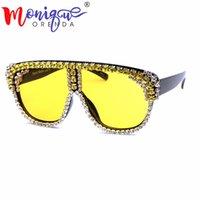 розовый большой объектив очки оптовых-4color негабаритных солнцезащитные очки Женщины 2018 Большой кадр стразы солнцезащитные очки мужчины розовый прозрачный объектив старинные градиент оттенки