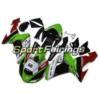 motosiklet için abs kit toptan satış-Kawasaki Ninja Için Kaportalar ZX-10R ZX10R 2006 2007 06 07 Sportbike ABS Motosiklet Kaporta Kiti Karoseri Marangozları Siyah Yeşil Elf Alevleri