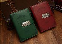 notebooks verriegelt großhandel-New Vintage Pu Notebook mit Schloss Code Passwort Bussniess Leder Tagebuch 100 Blätter Office Journal Shcool Zubehör Geschenk