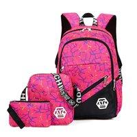 lona mochilas escola miúdos venda por atacado-3 pçs / sets Moda Mochila Escolar para Adolescentes Meninas schoolbags kid backpacHigh Quality Canvas School Bag escolar