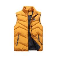 ingrosso giacca di cotone senza maniche-Giacca da uomo 4XL Gilet senza maniche moda invernale Cappotti casual da uomo in cotone imbottito Gilet da uomo Gilet addensato
