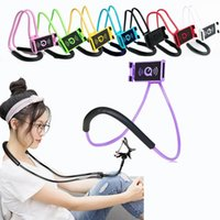 Wholesale Long Arm Lighting - 60 cm long arm Hand free smart phone holder Neck hong handfree Cellphone Mounts Selfie Stick lazy man phone Stand tool with retail box