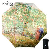 guarda-chuvas de arte chinesa venda por atacado-Fantástico Van Gogh pintura da arte proteção uv gotas de chuva automática guarda-chuva de dobramento romântico sol guarda-chuva criativo chinês