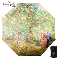 Wholesale fantastic paintings - fantastic Van Gogh art painting uv protection rain drops automatic romantic folding umbrella sun chinese creative umbrella