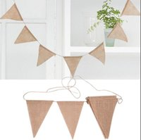 Wholesale pennant flags - 2.8m Burlap Flags Burlap String Hessian Burlap Banner Bunting Pennant Wedding Party Decoration Photography Props 13 Flags KKA5177