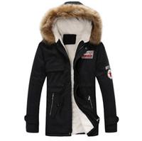 kapüşon yaması toptan satış-Erkek Sıcak Kapüşonlu Ceketler Sahte Kürk Hoodie Slim Fit Kışlık Mont Erkek Moda Yama Tasarımları için Windbreak Ceketler
