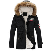 Wholesale mens fur jackets for winter for sale - Group buy Mens Warm Hooded Jackets Fake Fur Hoodie Slim Fit Winter Coats for Male Fashion Patch Designs Windbreak Jackets