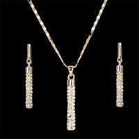 anel colar earing venda por atacado-Mulheres Gota Brincos Conjunto Pingente de Colar de Cristal SWA ELEMENTS colares brinco das mulheres anel de ouvido earing Conjuntos de Jóias de Mulher Meninas Jóias