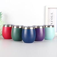 Wholesale red wine tea - 8oz Egg Mug Stainless Steel Stemless Drinking Coffee Tea Cups Wine Glass Water Bottle Beer Mugs Tumbler Hydration Gear OOA5353