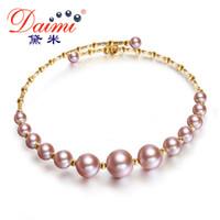 braceletes roxos venda por atacado-DAIMI Série Roxo Pulseiras 3.5-7.5mm Pulseiras Elásticas de Pérolas 18 K Ouro Jóias Genuínas G