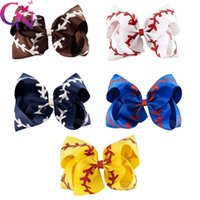 Wholesale sterling hair clips online - 4 inch Lala Bow Barrette Cheerleader Girl Hair Clip Cute Multi Color Handmade Softball Baseball Pattern Ponytail Hairpin dz C