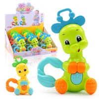 Wholesale dental toys - Hand Grab Bell Baby Early Childhood Cartoon Animal Puzzle Dental Adhesive Intelligence Toys Kid Elephant Deerlet Hot Sale 2 57lh V