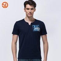 jeephemden großhandel-Solide Senlin Jeep V-Ausschnitt Kurzarm Print T-Shirt Männer T-Shirt Sommermode Jeep Männer Stil Baumwolle T Männer Baumwolle