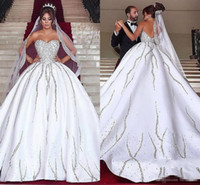 Wholesale line dress veil online - Luxury Bling Dubai Arabic Plus Size Wedding Dresses Beads Sequins Sweetheart Backless Sweep Train Country Wedding Dress With Matching Veils