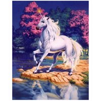 Wholesale horse cloth - Horse River Flower 5D DIY Mosaic Needlework Diamond Painting Embroidery Cross Stitch Craft Kit Wall Home Hanging Decor