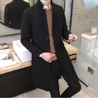 Wholesale Men S Dust Coat - men's boutique fashion pure color leisure in the stand collar long single-breasted woolen cloth dust coat   Mens jacket