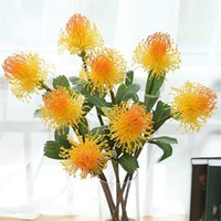 Wholesale sings flower for sale - Group buy Fake Sing Stem Pincushion Flower Simulation Plastic Leucospermum with Green Leaf for Wedding Home Showcase Decorative Artificial Flowers