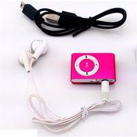 música mp3 al por mayor-Protable Mini reproductor de música Mp3 Reproductor de Mp3 Soporte Micro TFCard Ranura USB MP3 Reproductor deportivo Puerto USB con auricular para Iphone