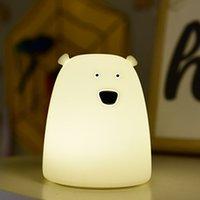 bebekler için gecelik hafif oyuncaklar toptan satış-LED USB Silikon Ayı gece ışıkları 7 Renk Değiştirme Başucu Işık Lambası Çocuk Sevimli Hayvan Karikatür Bebek Kreş Hediye Oyuncak
